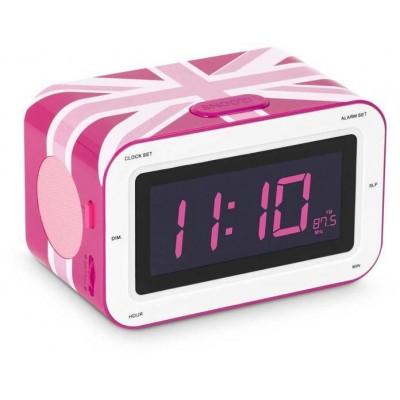 """Радиоприемник с будильником """"Британский флаг"""", розовый 16х10 см"""