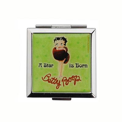 "Зеркало карманное ""Betty Boop"", зеленое"