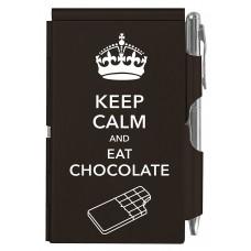 Карманный блокнот с ручкой Troika Keep calm chocolate