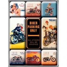 "Набор из 9 магнитов ""Biker Parking Only"""