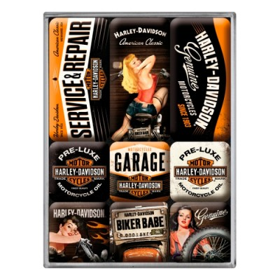 """Набор из 9 магнитов """"Harley-Davidson Garage Babes"""""""