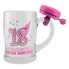 "Кружка для пива ""18"" розовая"