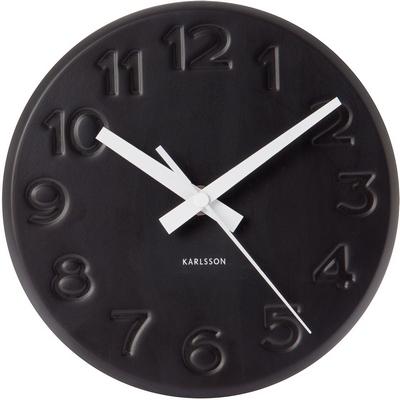 """Часы настенные """"Bold Engraved"""" цифры в стиле гравировки, черные"""