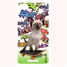 3-D вкладыш для iPhone Cat on skateboard