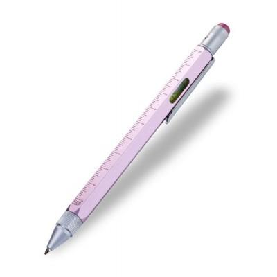 Ручка шариковая-стилус Troika Construction с линейкой, розовый
