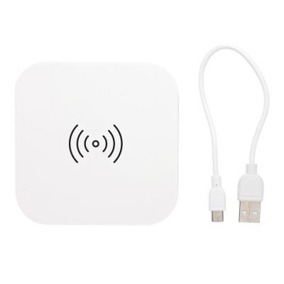 Зарядка беспроводная с 2 USB портами белая 5W