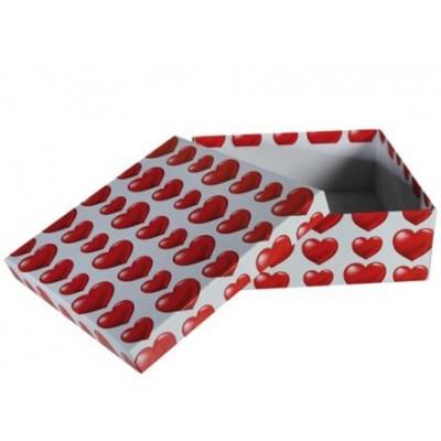 Коробка подарочная ООТВ Heart, красно-белый 20 х 20 х 7,5 см