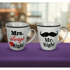 Набор кружек ООТВ Mr Right & Mrs Always Right фарфоровых