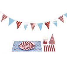 Набор для празднования Circus (салфетки, посуда, чашки, шляпки, гирлянда)
