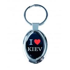 """Брелок """"I Love Kiev"""", черный овальный"""