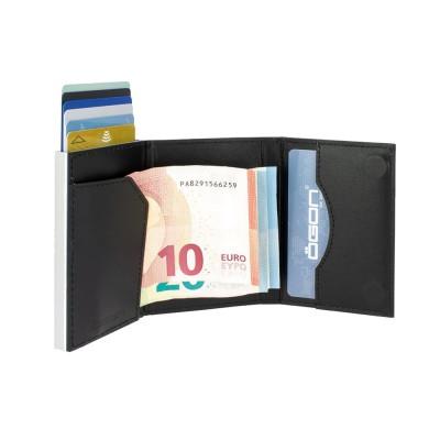 Бумажник на молнии OGON CASCADE SLIM ZIPPER, черно-серый