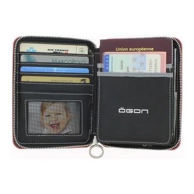 Кошелек на молнии OGON Quilted passport, розово-золотистый