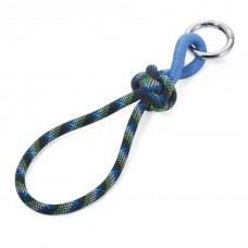 Кольцо для ключей с веревкой и узлом, сине-зеленый