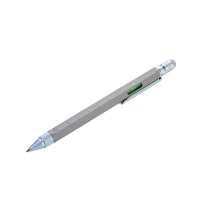 Ручка шариковая Construction со стилусом, линейкой, отверткой и уровнем, серый